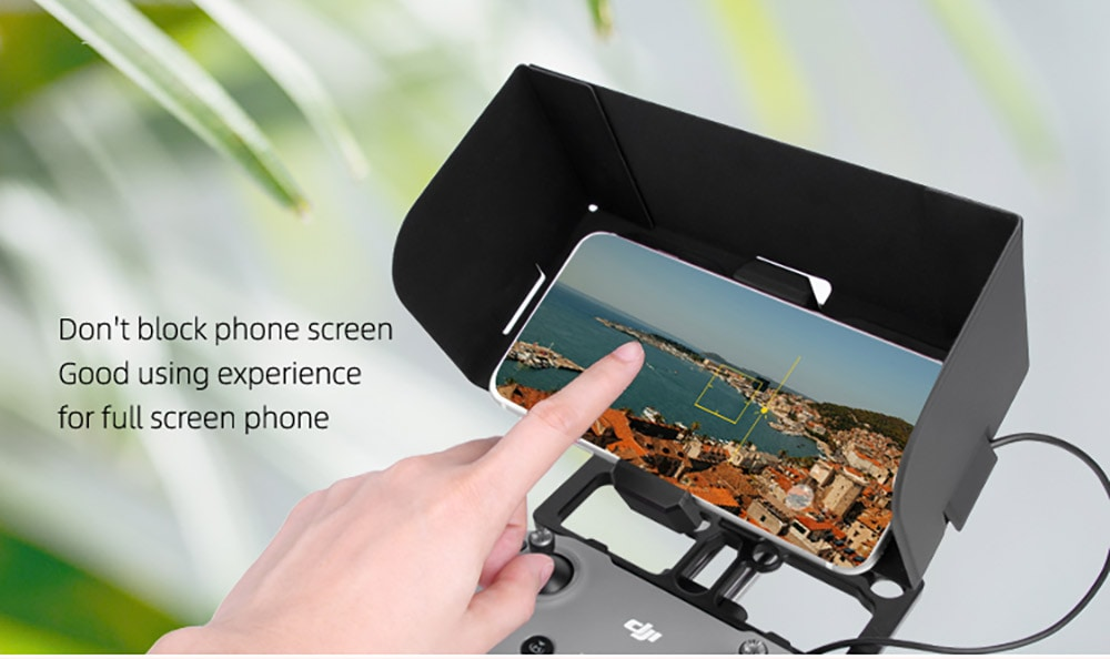 Full Screen Phone Holder with Adjustable Angle Hood Lanyard Suitable for DJI MAVIC 2 / Air2 / Mini Remote Control - Black