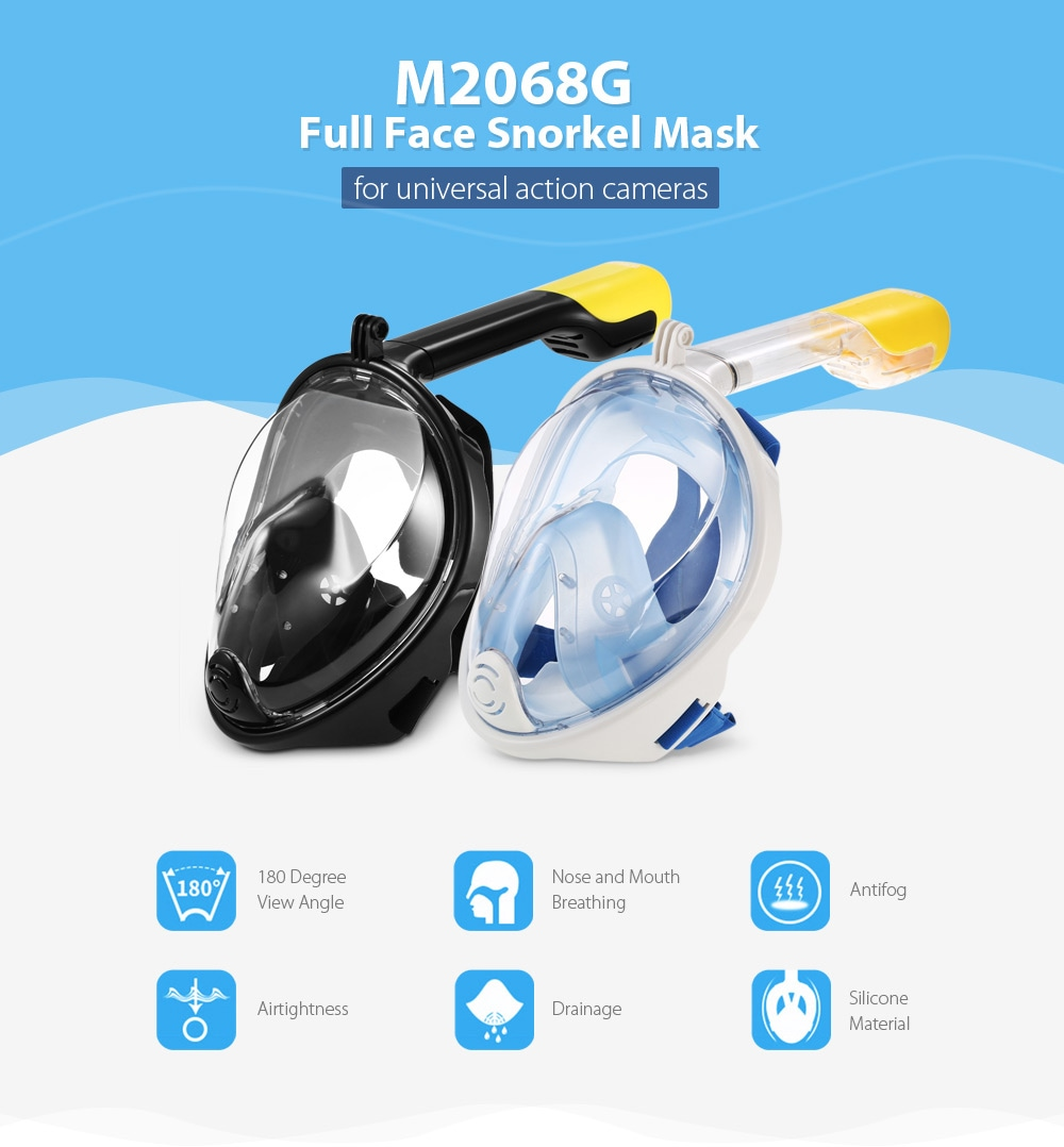 M2068G Full Face Snorkel Mask Water Sports Diving Equipment for Action Camera DV - Black S / M